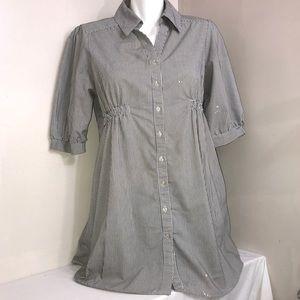 Majora Grey &White Striped 3/4 Sleeve Blouse Dress